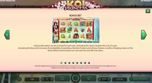 Игровая функция в аппарате Koi Princess