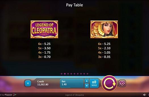 Таблица выплат в аппарате Legend of Cleopatra