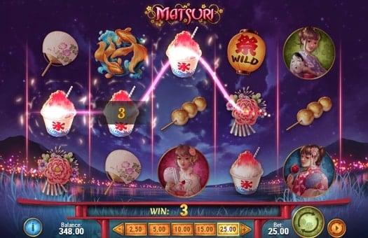 Выигрышная комбинация на линии в игровом автомате Matsuri