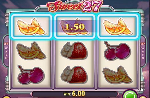 Выигрышная комбинация символов в автомате Sweet 27