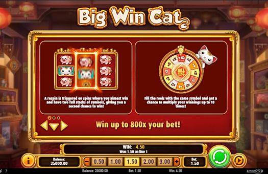 Правила респинов в игре Big Win Cat