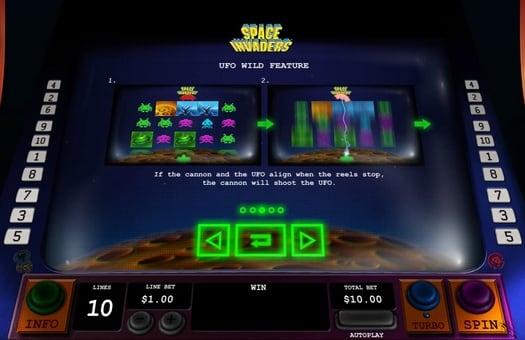 Бонусная функция в игровом аппарате Space Invaders