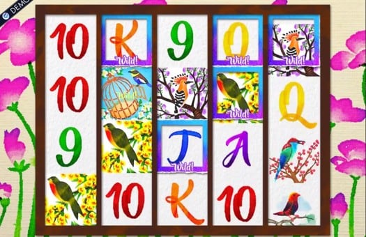 Комбинация с дикими символами в игровом автомате Birds and Blooms