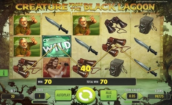 Призовая комбинация с Wild в игровом автомате Creature from the Black Lagoon