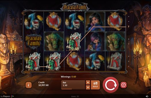 Призовая комбинация на линии в игровом автомате Dracula's Family