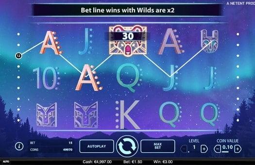Комбинация символов в игровом автомате Glow