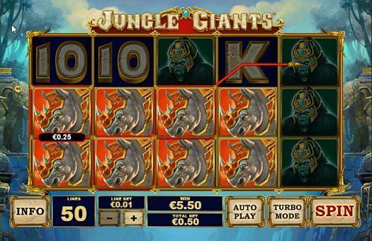 Призовая комбинация символов в игровом автомате Jungle Giants
