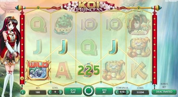 Призовая комбинация с Wild в игровом автомате Koi Princess