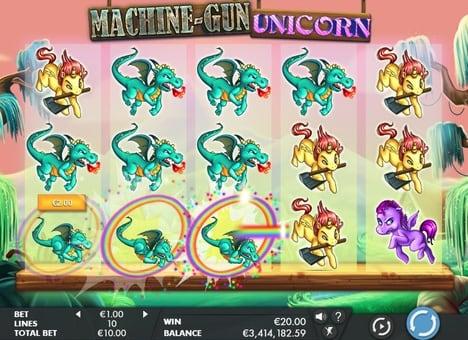 Призовая комбинация в игровом автомате Machine Gun Unicorn