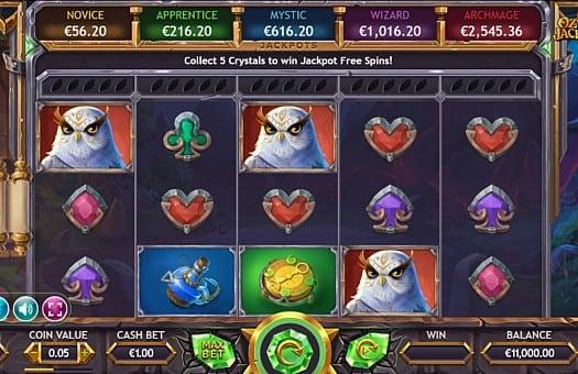 Призова комбинация на линии в игровом автомате Ozwins Jackpots