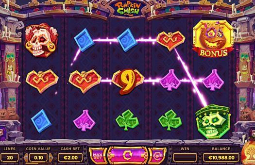 Призовая комбинация на линии в игровом автомате Pumpkin Smash