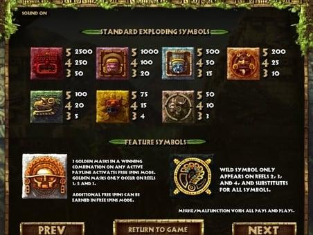 Таблица выплат в игровом автомате Rook's Revenge