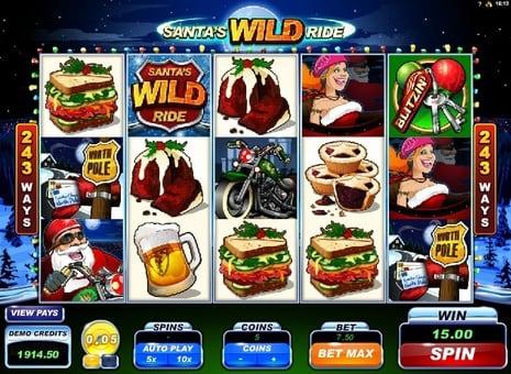 Призовая комбинация символов в игровом автомате Santa's Wild Ride