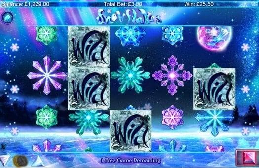 Выпадение знаков Wild в игровом автомате Snowflakes