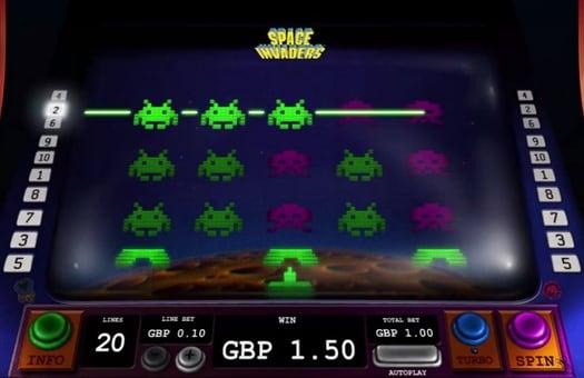 Призовая комбинация в игровом автомате Space Invaders