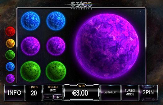 Призовая комбинация на линии в игровом автомате Stars Awakening