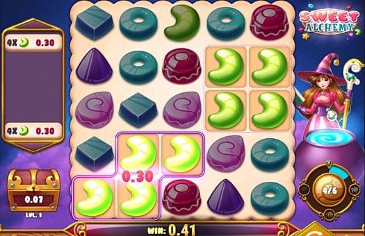 Призовая комбинация на линии в игровом автомате Sweet Alchemy