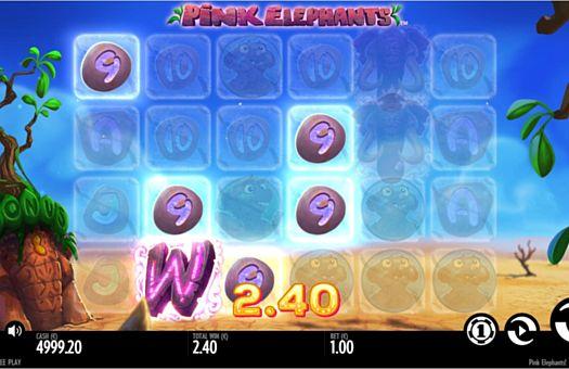Призовая комбинация с диким символом в игровом автомате Pink Elephants