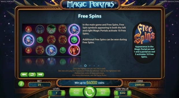 Правила фриспинов в онлайн аппарате Magic Portals