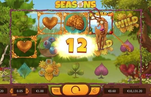 Выпадение выигрыша в онлайн аппарате Seasons