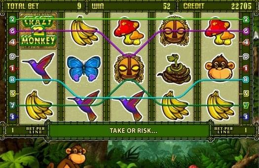 Комбинации символов на линиях онлайн автомата Crazy Monkey 2
