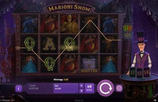Выигрышная комбинация в онлайн автомате Marioni Show