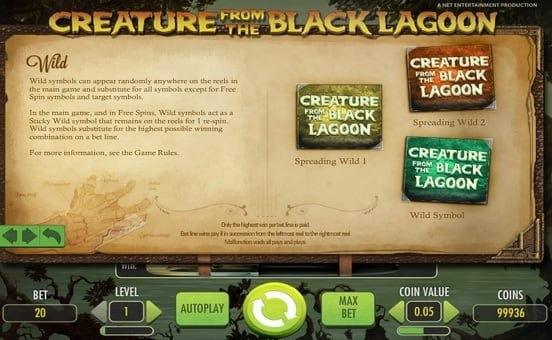 Дикий знак в онлайн слоте Creature from the Black Lagoon