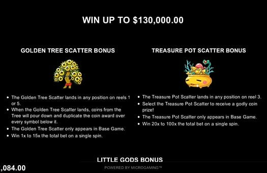 Игровые бонусы в онлайн слоте Lucky Little Gods