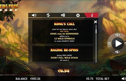 Игровые бонусы в слоте King Kong Fury