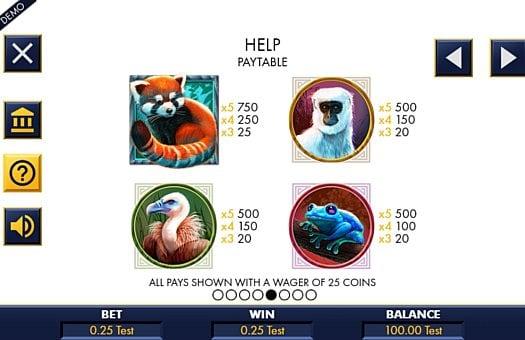 Таблица выплат в слоте Red Panda Paradise